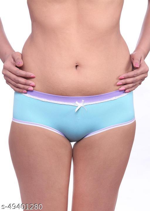 Women Brazilian/Cheeky Blue Cotton Panty