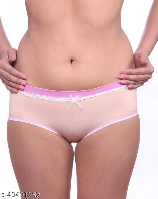Women Brazilian/Cheeky Peach Cotton Panty