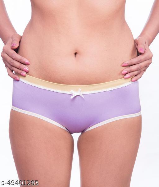Women Brazilian/Cheeky Purple Cotton Panty