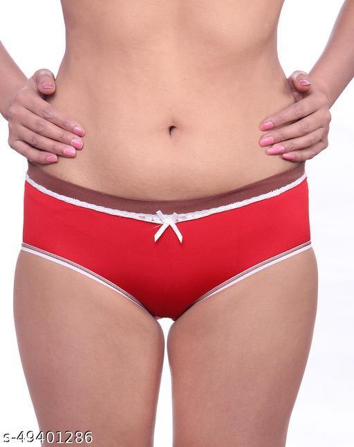 Women Brazilian/Cheeky Red Cotton Panty
