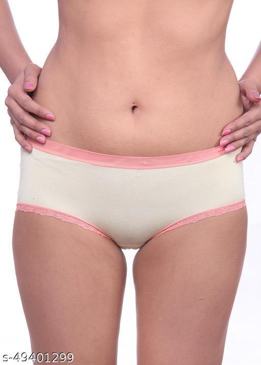 Women Brazilian/Cheeky Yellow Cotton Panty