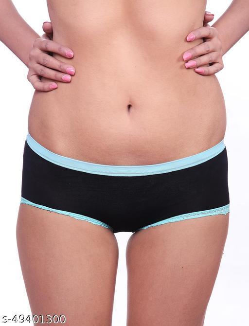 Women Brazilian/Cheeky Black Cotton Panty
