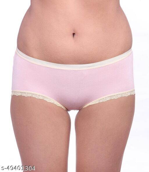 Women Brazilian/Cheeky Pink Cotton Panty