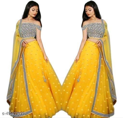 Beautifull Yellow Color Net Lehenga With Heavy Embroidery Work Choli For Women