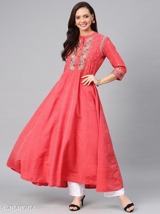 Women's Chanderi Silk Red Flared Floral Embroidered Kurti