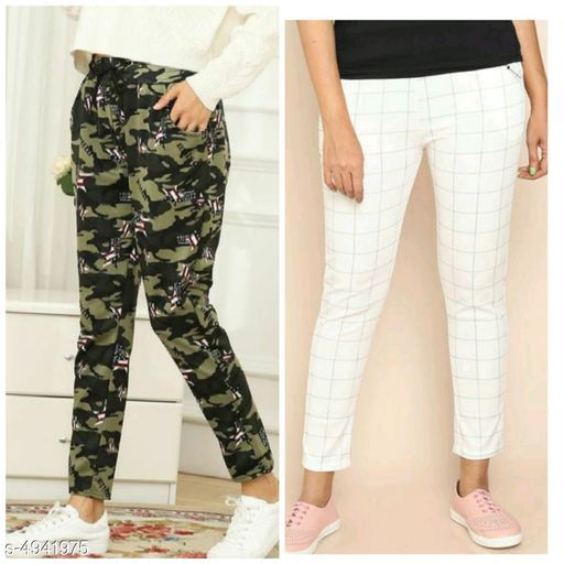 Trousers & Pants Elegant Trendy Women's Trouser & Track Pant   *Fabric* Poly Cotton  *Waist Size* 28 in, 30 in, 32 in Length -  Up To 38 in  *Type* Stitched  *Description* It Has 1 Piece Of Women's  Trouser & 1 Piece Of Track Pant  *Pattern* Checked & Camouflage  *Sizes Available* Free Size, 28, 30, 32 *    Catalog Name: Elegant Trendy Women's Trouser & Track Pant  Vol 2 CatalogID_723559 C79-SC1034 Code: 574-4941975-