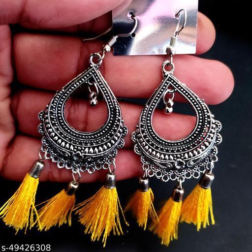 Trendy Pear Shape Yellow Thread Earring
