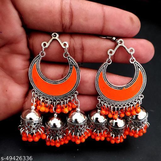 Chandbuli Orange Meenakari Jhumka Earring