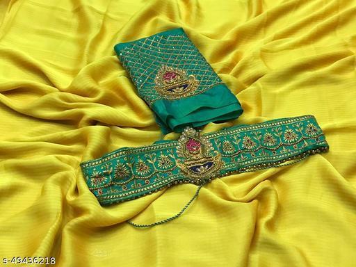 Designer Belt Blouse Concept Chiffon Saree
