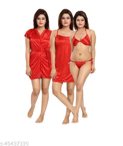 Women Red Satin Lingerie Set (Pack of 4)