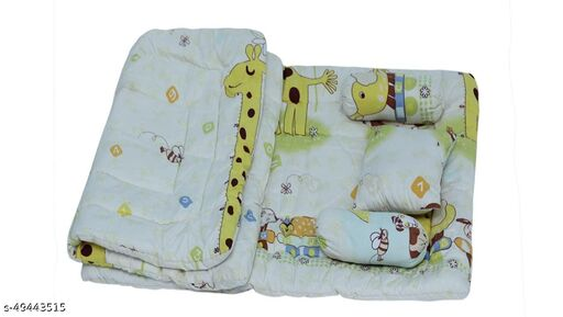 Baby Treasures Baby Cotton 5 Pcs Yellow Animal Printed Bedding Set with Neck Pillow,Mattress, Quilt,Two Boosters (0-18 Months)