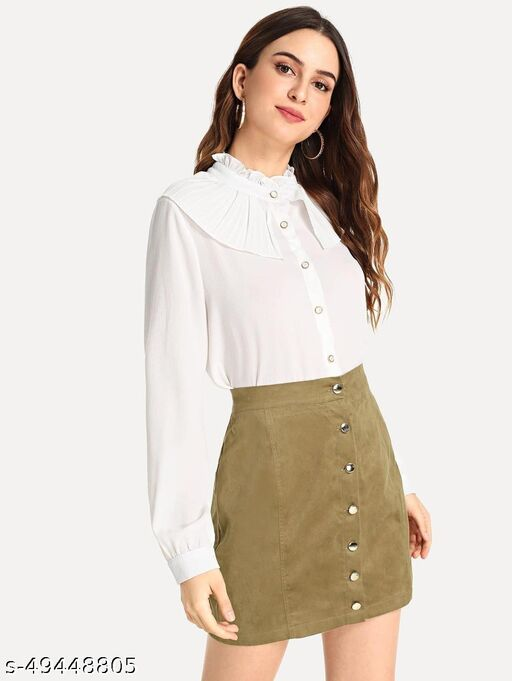 Single Breasted Solid Skirt