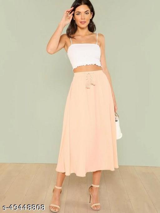 Tassel Drawstring Waist Solid Skirt