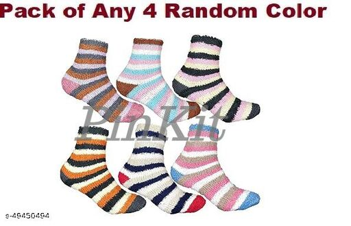 4 Pairs Soft & Cozy Ladies Women Girls Fuzzy Socks Winter Warm Feather Socks (Without Thumb Socks) (Pack of Three Pairs) - Any 4 Coloured Socks