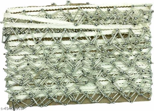 KavmartLatest Piping Jhalar Mirror Lace Tassel Designer latkan lace for Saree, Kurti Lehnga,Dupatta,decor(9meters)(Silver)