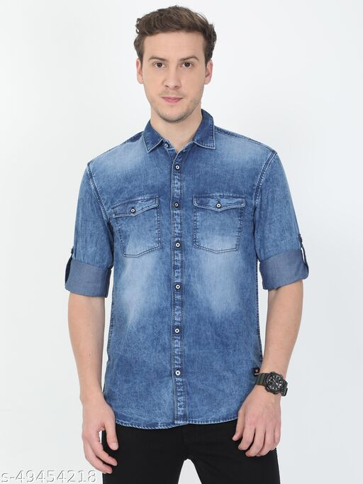 Tortuga Men Blue Faded Denim Double Pocket Shirt