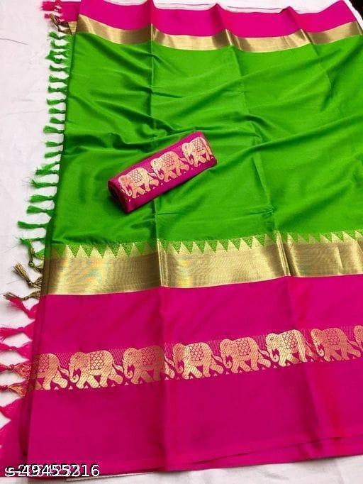 Rajawadi Elegant Elephant Design Cotton Silk Saree (Green & Pink)