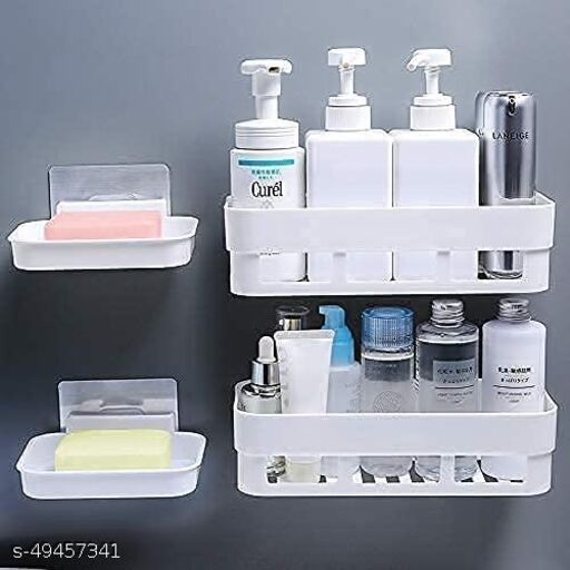 ZOOMENZO Combo Wall Mount Bathroom Shelf and Soap Rack for Home and Kitchen. Adhesive Sticker Support Without Drilling. (2 Bathroom Shelf + 2 Soap Dish)
