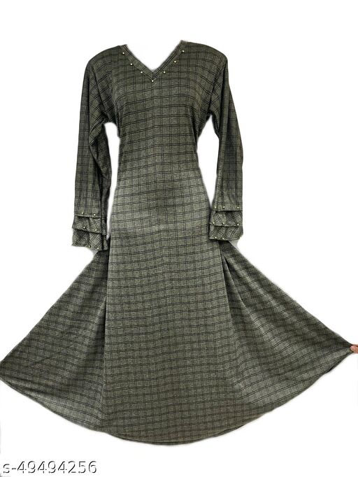 Humeira Burj Naqab in Green Color Color With Check Work Abaya