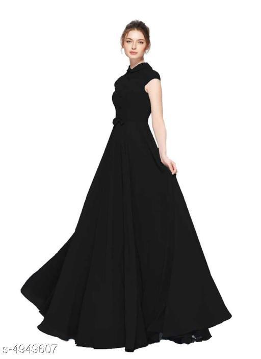 Solid Maxi Georgette Dress