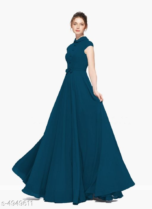 Solid Navy Blue Maxi Georgette Dress