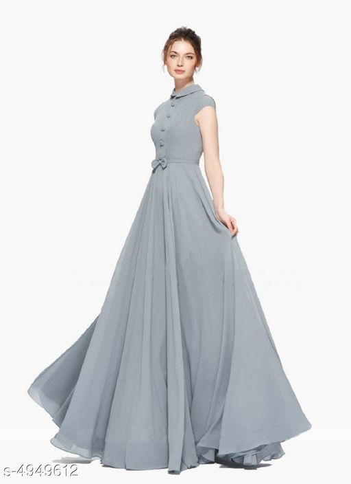 Solid Grey Maxi Georgette Dress