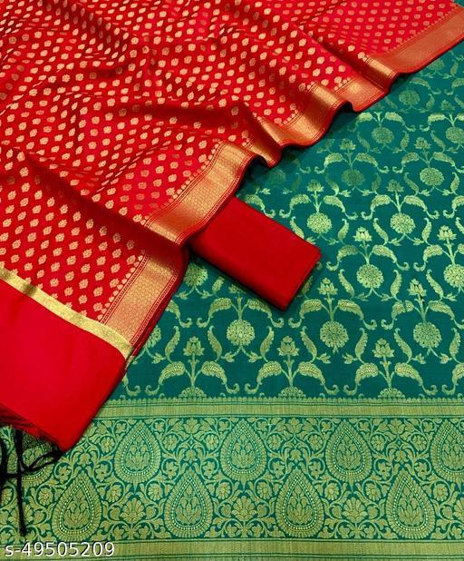 (11Teal) Fabulous Weddings Special Banarsi Jaquard Contrass Silk Suit And Dress Material