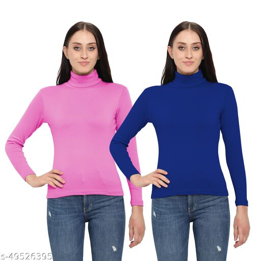 DIAZ Women/Girls Turtle Neck/Highneck T-Shirt pack of 2