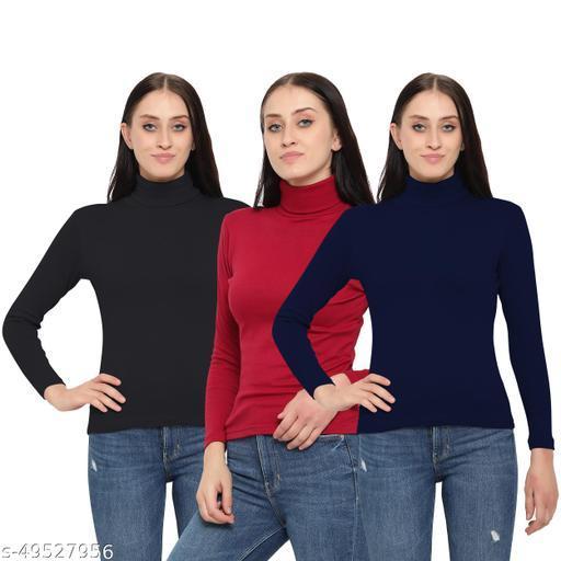 FASHA Women/Girls Turtle Neck/Highneck T-Shirt pack of 3