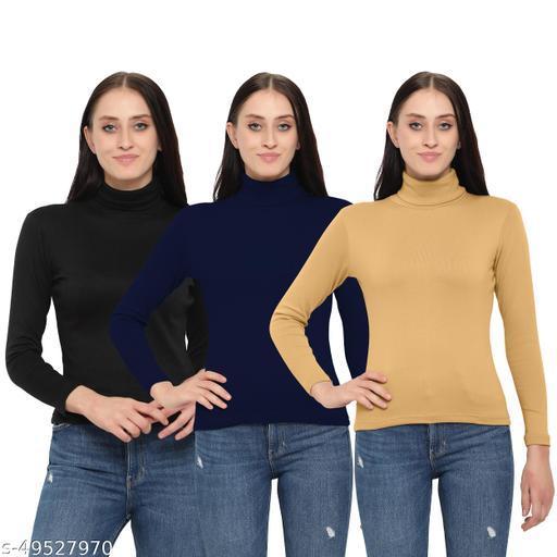 FASHA Women/Girls Turtle Neck/Highneck Sweatshirts pack of 3