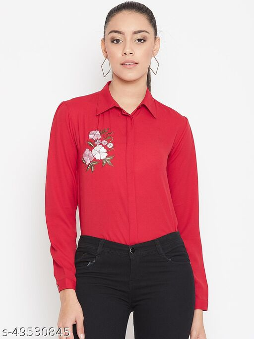 Solid shirt with embroidery on front