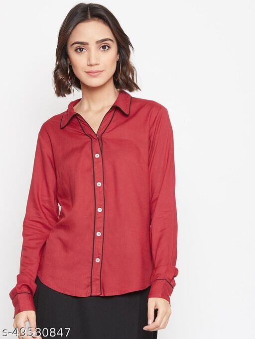 Solid shirt with contrast piping