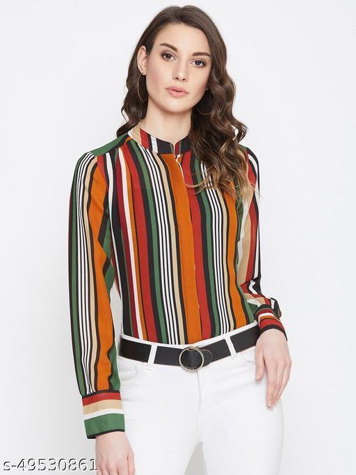 Stripes band collar shirt
