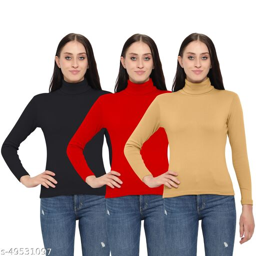 MYO Women/Girls Turtle Neck/Highneck Sweaters pack of 3