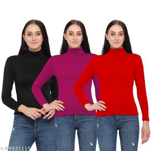 MYO Women/Girls Turtle Neck/Highneck Sweatshirt  pack of 3