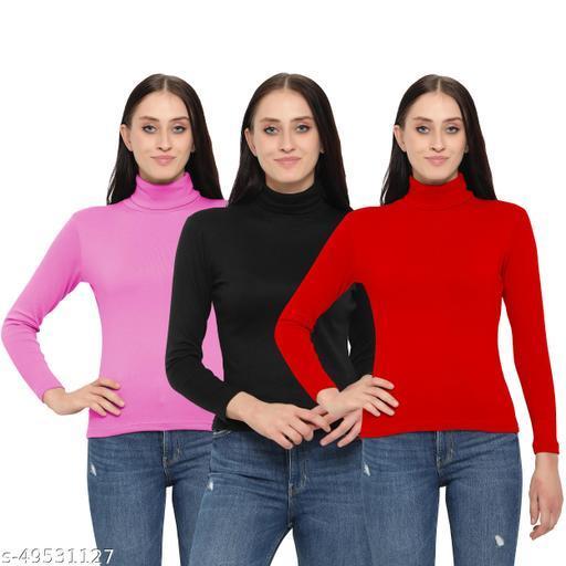 MYO Women/Girls Turtle Neck/Highneck Sweaters of 3
