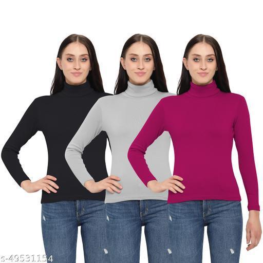 MYO Women/Girls Turtle Neck/Highneck T-Shirt pack of 3