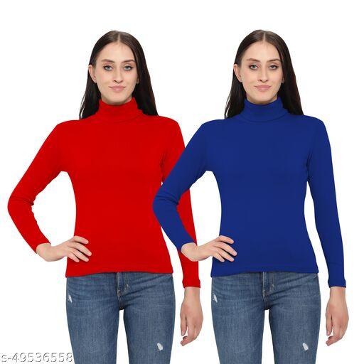 MYO Women/Girls Turtle Neck/Highneck Sweaters pack of 2