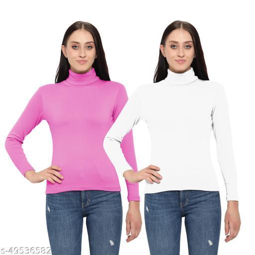 MYO Women/Girls Turtle Neck/Highneck T-Shirt pack of 2 Sweaters