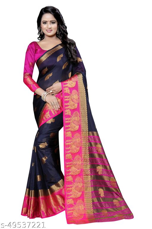 Well Worn designer daily wear jacquard banarasi cotton silk pink colour saree
