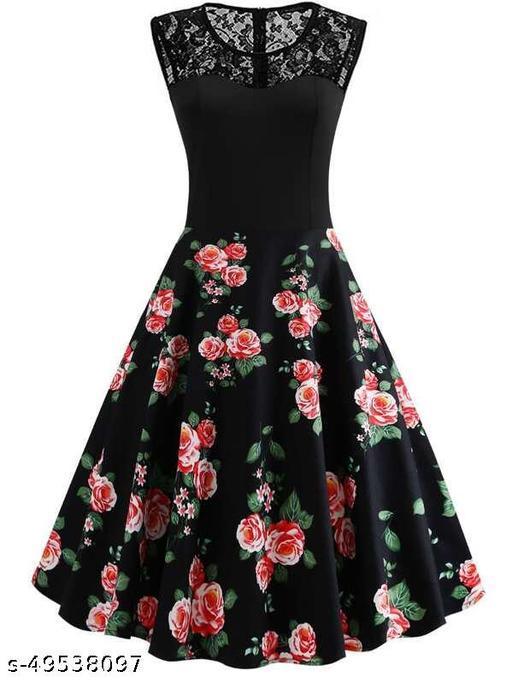 50s Lace Yoke Floral Flare Dress