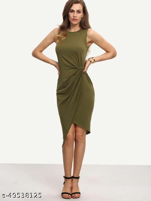 Army Green Sleeveless Knot Sheath Dress