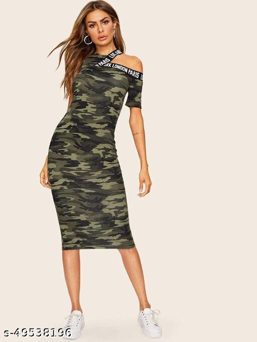Asymmetrical Shoulder Letter Tape Camo Dress