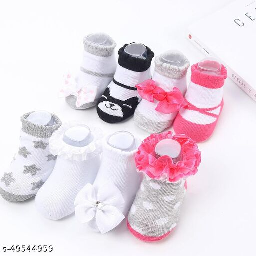 Amraz Gift box newborn soft knitted sweet bow infant cute girls lace cotton fancy ruffle baby socks (Random color & Design as per the availibility)