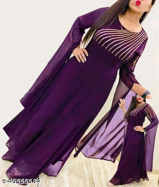 New Purple Flared Georgette Fabric Full Stitched Gown For Women
