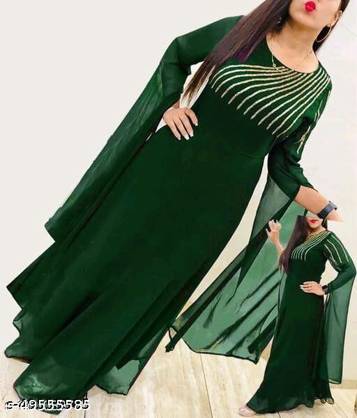 New Green Flared Georgette Fabric Full Stitched Gown For Women
