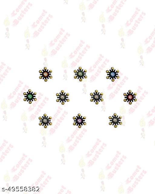 Comet Busters Snowflake Design Black Bindis (BIN889)