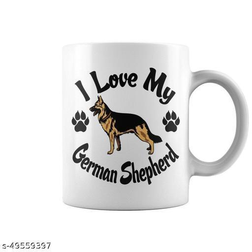 RADANYA MUGS German Shepherd Funny Ceramic Mug, Cup for Coffee, Milk, Tea Gift for Everyone White 11Oz