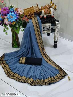 Shree Shree Thread & Dori Women's Georgette Beaded Moti And Fancy Jacquard Border Party Wedding Fashion Sarees Grey  Color