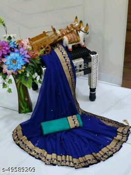 Shree Shree Thread & Dori Women's Georgette Beaded Moti And Fancy Jacquard Border Party Wedding Fashion Sarees Blue Color
